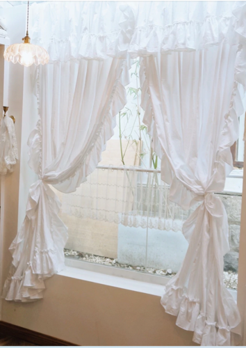 TENDA CHARME   BIANCA CON MANTOVANA  SHABBY ROMANTIQUE CHIC ISABELLE 100x280